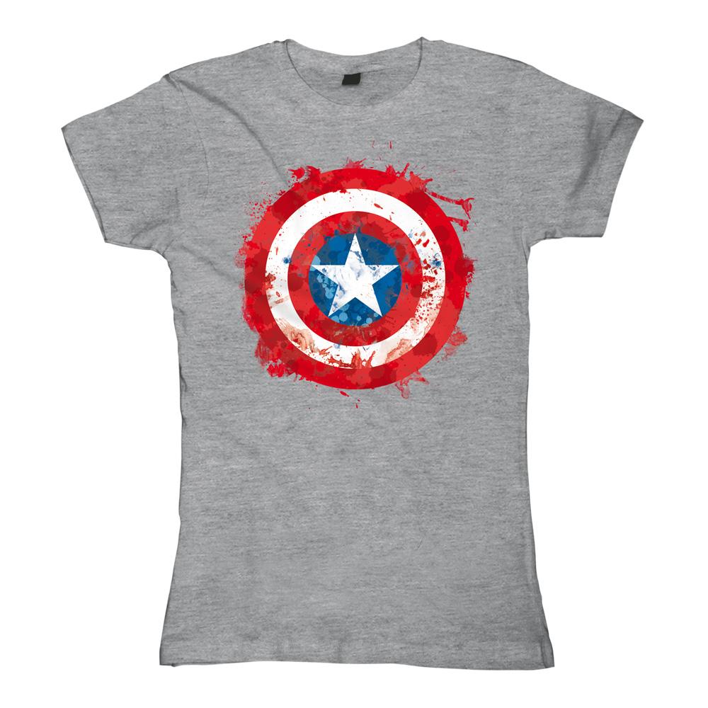 Captain America - Sprayed Shield von Marvel Comics - Girlie Shirt jetzt im SuperTees Shop