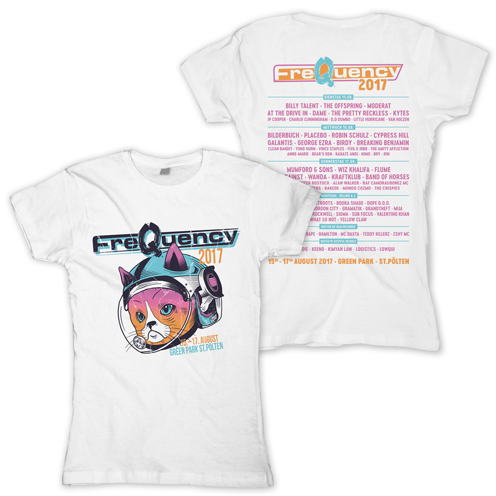 Space Cat von Frequency Festival - Girlie Shirt jetzt im My Festival Shop Shop